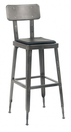Laurie Bistro-Style Metal Bar Stool in Dark Grey Finish