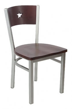 Grey Finish Interchangeable Star Back Metal Chair