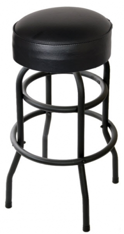 Backless Swivel Bar Stool with a Black Double Ring Frame