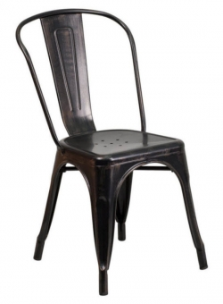 Antique Black- Gold Bistro Style Metal Chair