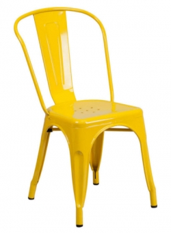 Yellow Bistro Style Metal Chair