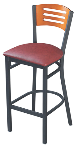 Interchangeable Back Metal Barstool with 3 Slats
