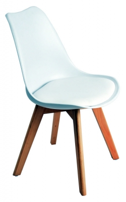 Nordic Style White Upholstered Wood Chair