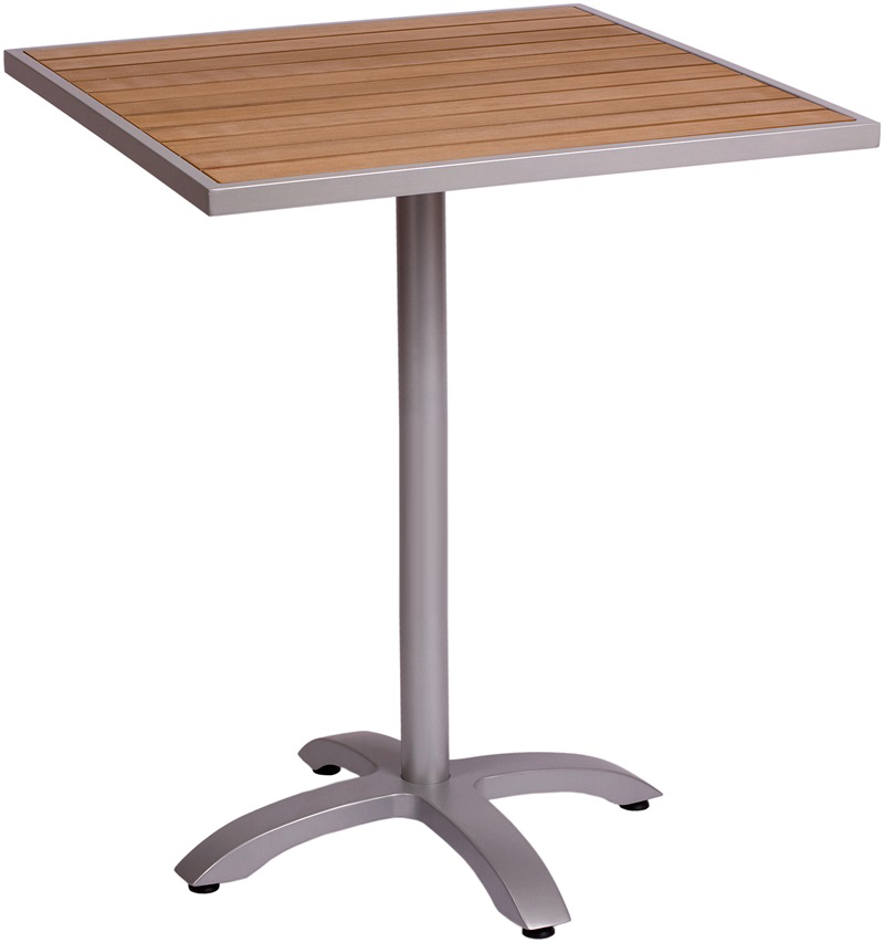 Aluminum Patio Tables with Plastic Teak Top - Bar Height