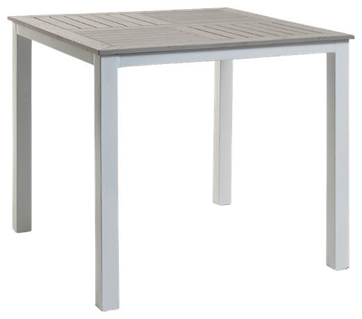 Silver Patio Table with Light Grey Plastic Teak Top