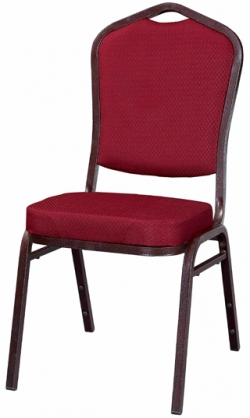 Metal Stack Chair Copper Vein Frame With Dark Red Fabric