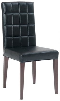 Metal Parsons Lounge Chair in Brown Finish and Black Vinyl Upholstery