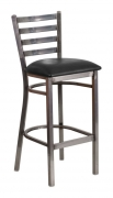 Clear Coat Ladder Back Metal Bar Stool