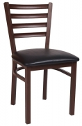Ladder Back Metal Chair With Brown Finish