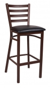 Ladder Back Metal Bar Stool With Brown Finish