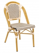 Aluminum Bamboo Patio Chair with Black and Cream Rattan