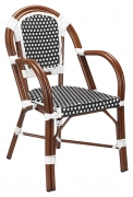 Aluminum Bamboo Patio Armchair with Black & White Rattan