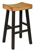 Backless Wood Saddle Bar Stool