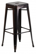 Black-Antique Gold Backless Bistro Style Bar Stool