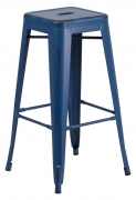 Distressed Dark Blue Bistro Style Bar Stool