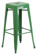 Green Backless Bistro Style Bar Stool