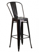 Antique Black and Gold Bistro Style Metal Bar Stool