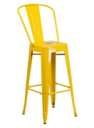 Yellow Bistro Style Metal Bar Stool