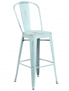 Distressed Ice Blue Bistro Style Bar Stool