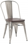 Clear Bistro Style Metal Chair with Walnut Wood Seat