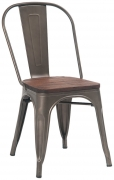 Dark Grey Bistro Style Metal Chair with Walnut Wood Seat