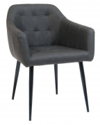 Lounge Metal Arm Chair with Dark Grey Vinyl Upholstery