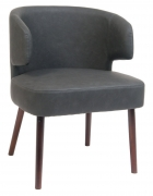 Dark Grey Vinyl Lounge Chair with Mahogany Wood Legs