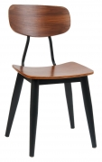 Basel Metal Chair with Veneer Wood Back and Seat