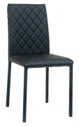 Diamond Tuft Padded Metal Chair with Black Vinyl Upholstery