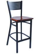 Metal Checker Back Bar Stool