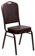Copper Vein Metal Stack Chair in Brown Vinyl