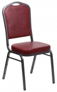 Silver Vein Metal Stack Chair in Wine Vinyl
