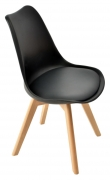 Nordic Style Black Upholstered Wood Chair
