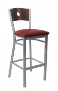 Silver Back Metal Bar Stool with a Circled Back