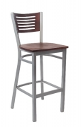 Silver Metal Barstool with 5 Slats Back