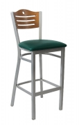 Silver Metal Barstool with Circle & 3 Slats in Back