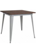 Industrial Silver Restaurant Table with Dark Walnut Wood Top