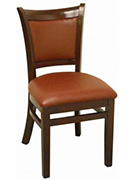Upholstered Back Wood Chair