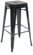 Bistro Style Metal Backless Bar Stool in Black Finish