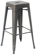 Bistro Style Metal Backless Bar Stool in Dark Grey Finish