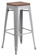 Bistro Style Silver Metal Backless Bar Stool with Walnut Wood Seat