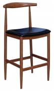 Wood Grain Metal Bar Stool in Walnut Finish with Black Vinyl Seat