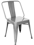 Extra Wide Bistro Style Metal Chair in Clear Finish