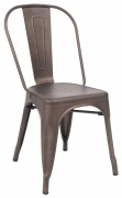 Bistro Style Metal Chair in Dark Grey Finish