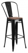 Bistro Style Black Metal Bar Stool with Walnut Wood Seat