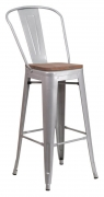 Bistro Style Silver Metal Bar Stool with Walnut Wood Seat