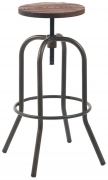 Dark Grey Swivel Backless Bar Stool with Walnut Wood Seat