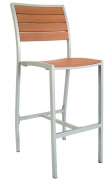 Grey Finish Aluminum Patio Bar Stool with Plastic Teak