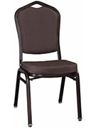 Premium Metal Stack Chair - Copper Vein Frame with Brown Fabric