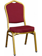 Premium Metal Stack Chair - Sun Gold Frame with Red 2001 Fabric